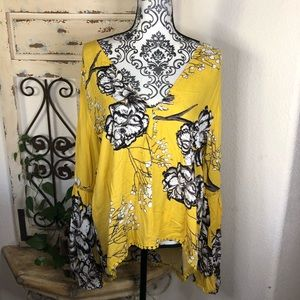 Jaase yellow bell sleeve floral print blouse